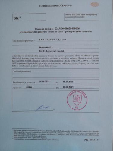 kktrasnplus certifikat  POVOLENKA