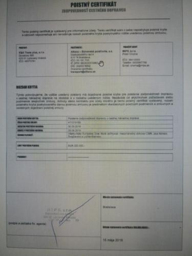 kktrasnplus certifikat  cmr poistenie